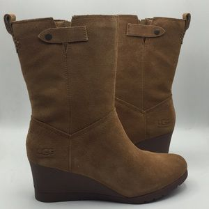 UGG Portrero Chestnut Suede Wedge Boots